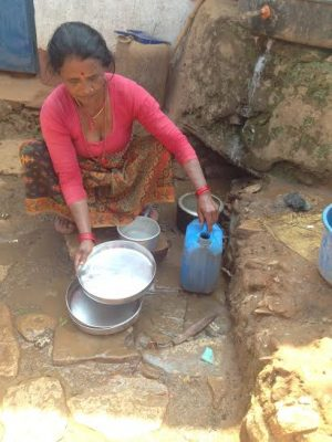 (call for support) Local woman in Parbat washing dishes outside her house without any sanitary approach
